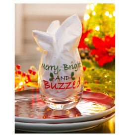 Evergreen Enterprises Merry, Bright, and Buzzed Wine Glass w/Box 17oz