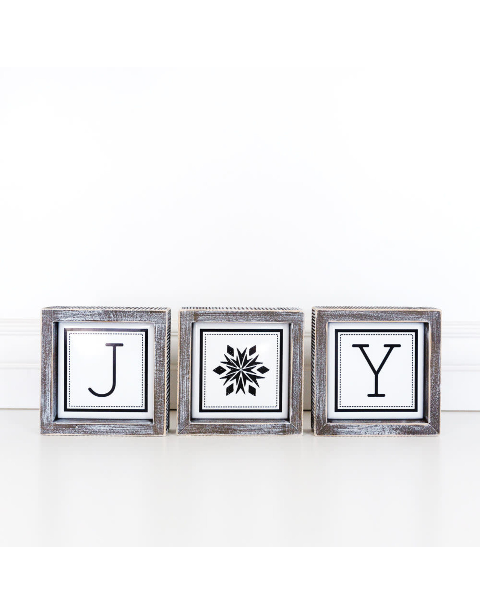 Adams & Co. JOY Wooden Framed Sign S/3