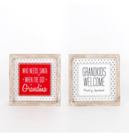 Adams & Co. Grandma/Kids Double Sided Wooden Sign