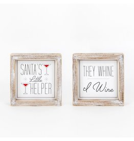 Adams & Co. Double Sided Wooden Framed Sign Santa's Little Helper