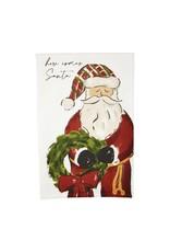 Mudpie Here Comes Watercolor Santa Towel