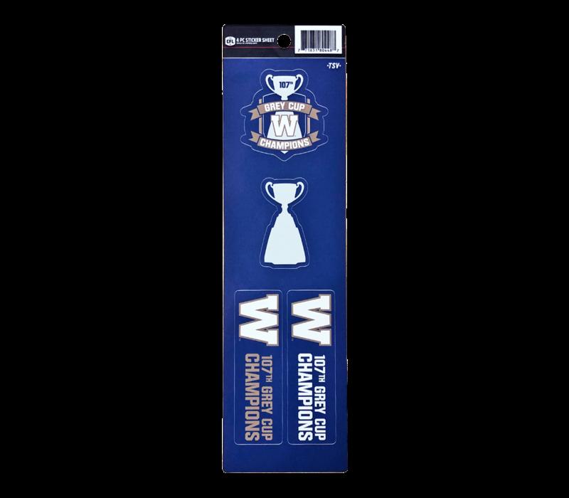 107th Grey Cup 4-PC Sticker Set
