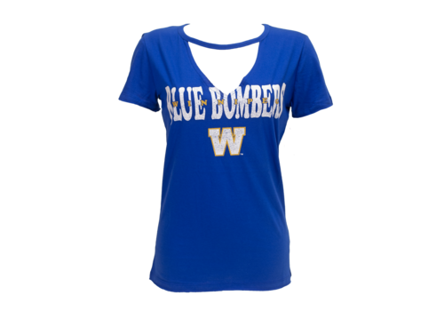 New Era Ladies Royal Cutout V-Neck Tee