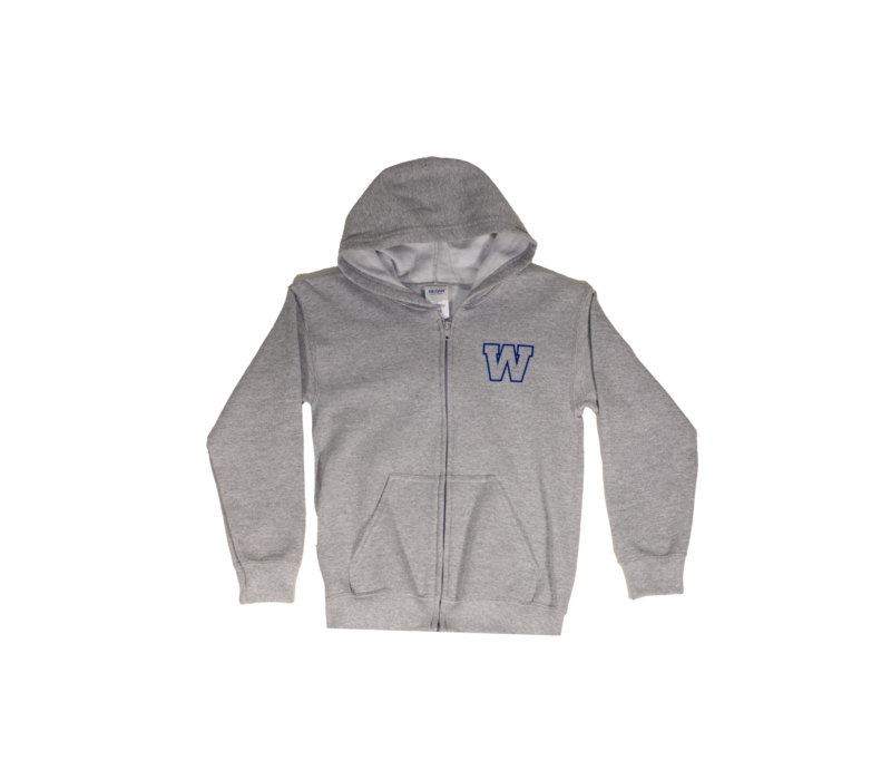 Youth Grey Primary W FZ Hoody