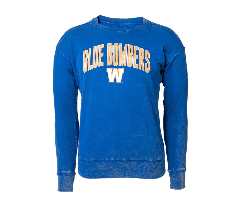 Women's Arched Blue Bombers Cuffed Fleece Sweatshirt