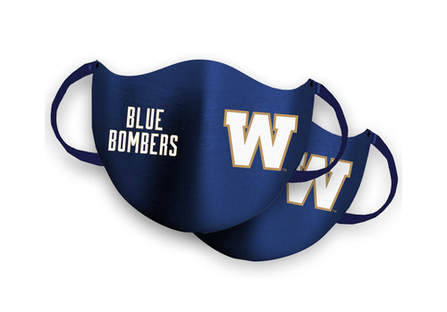 Blue Bombers Brand Pre-Order: 2 Pack Royal W Logo Face Mask