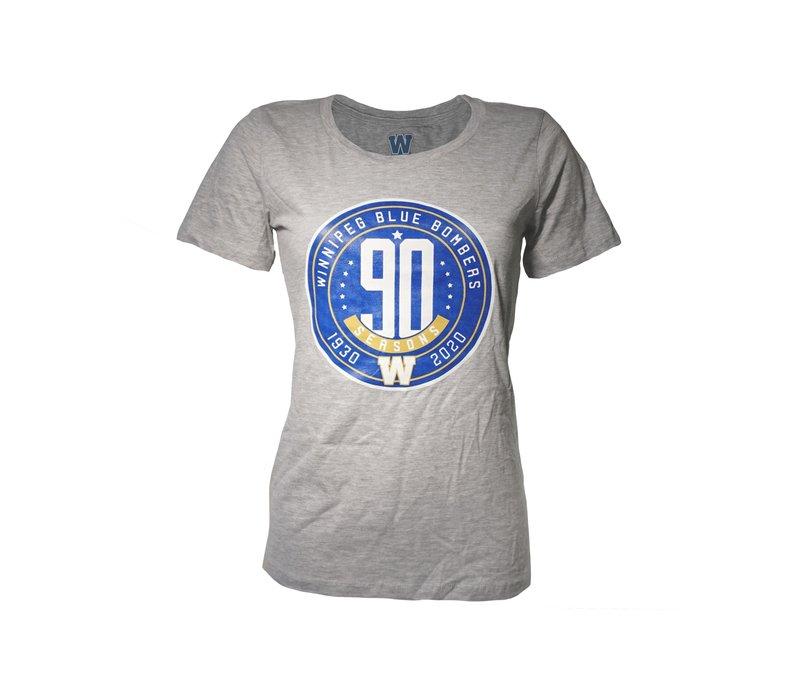 Ladies 90th Season Anniversary Circle Logo Grey Tee