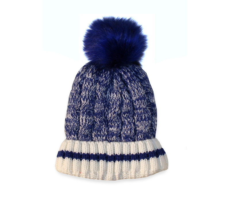 Ladies Blue Bombers Cable Knit Sherpa Lined Toque