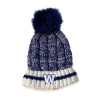 Women's Blue Bombers Cable Knit Sherpa Lined Toque
