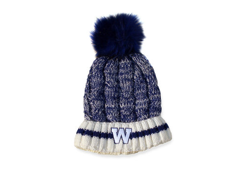 Gertex Womens Blue Bombers Cable Knit Sherpa Lined Toque