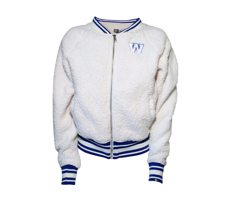 Womens Sherpa Zip Up with Knit Trim