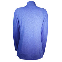 Womens Full Zip Heather Royal Embroidery Crew