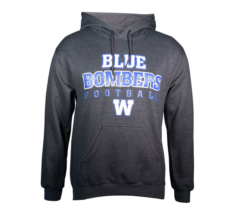 Dark Heather Blue Bomber Football Hoodie