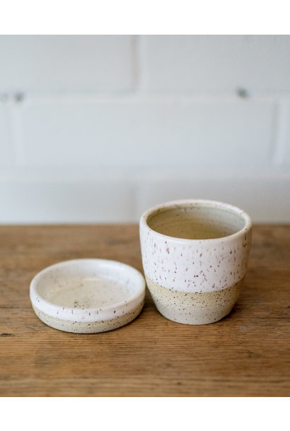 Planter& Saucer- Pascale White on Speckle - Studio Laroche