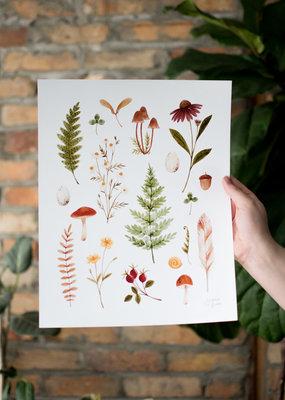 Joannie Houle Autumn Herbarium - Watercolour Art Print by Joannie Houle