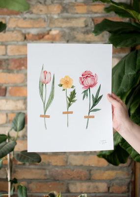 Joannie Houle Trois Fleurs - Watercolour Art Print by Joannie Houle