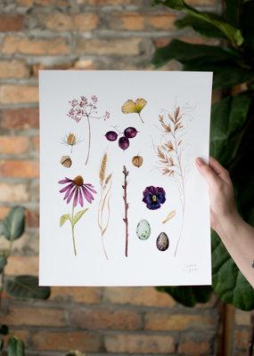 Joannie Houle Automn Forage - Watercolour Art Print by Joannie Houle