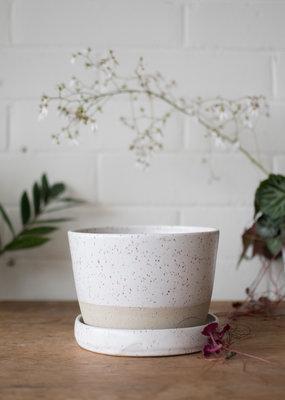 Studio Laroche Planter & Saucer- Pascale White on Speckle