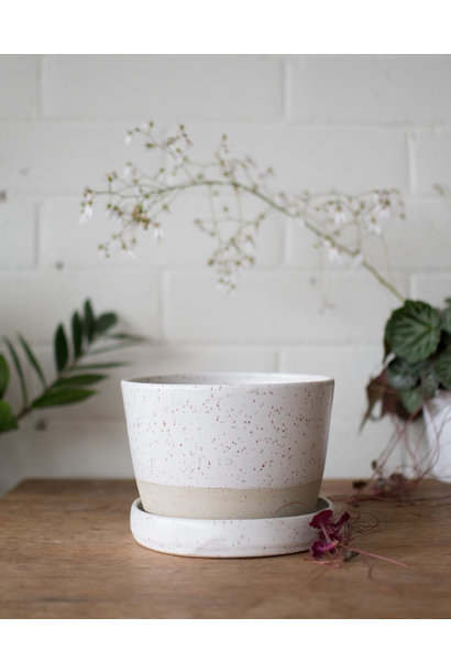 Planter& Saucer- Pascale White on Speckle