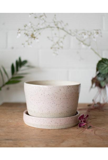 Planter& Saucer - Blush on Speckle - Studio Laroche