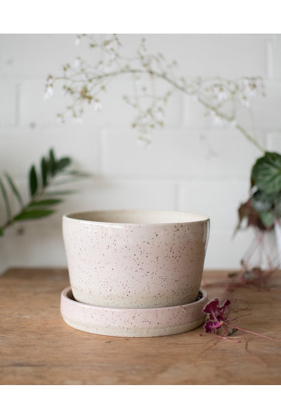 Planter& Saucer - Blush on Speckle