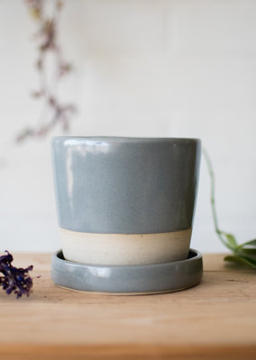 Studio Laroche Planter & Saucer- Eucalyptus on Cream