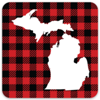 Waterproof Sticker - MI Red Plaid - MEDIUM