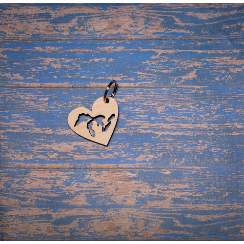 Laser Etched Wood Keychain -  Great Lakes Heart