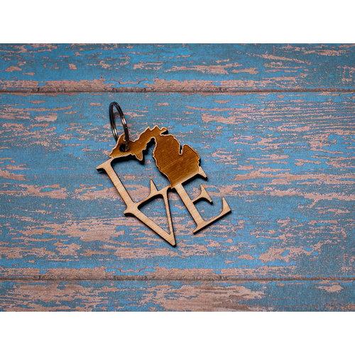 Laser Etched Wood Keychain -  Love MI
