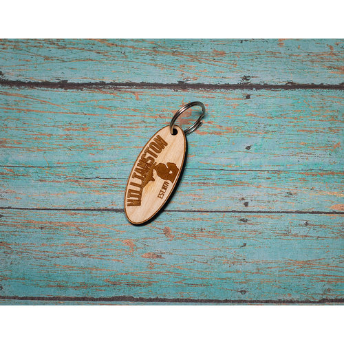 Laser Etched Wood Keychain -  Williamston Oval