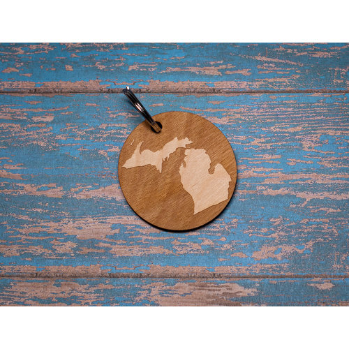 Laser Etched Wood Ornament -  Circle Michigan