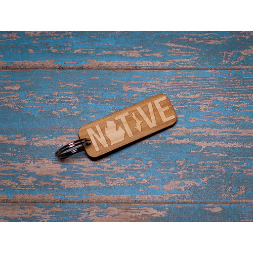 Laser Etched Wood Keychain -  Native