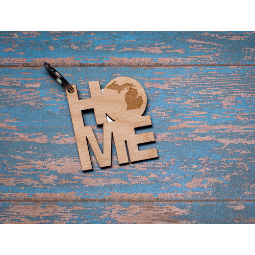 Laser Etched Wood Keychain -  Home MI Circle