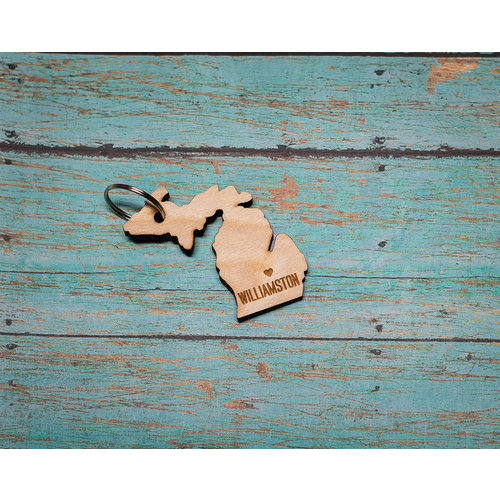 Laser Etched Wood Keychain -  Williamston Heart