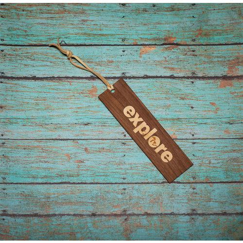 Wooden Enclosed Bookmark - Explore