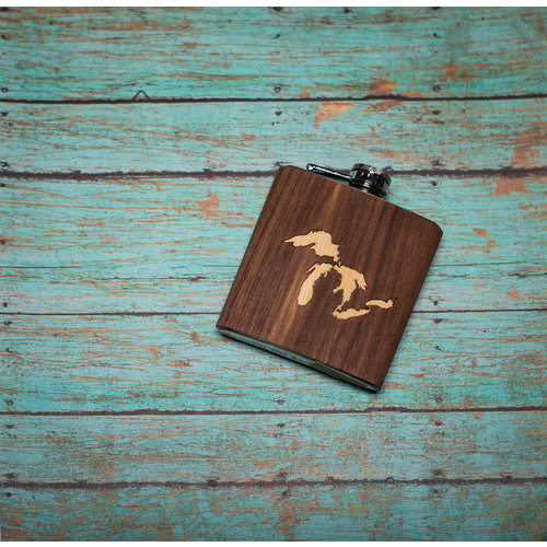 Wooden Flask Great Lakes