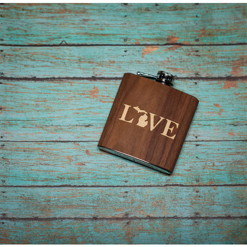 Wooden Flask Love