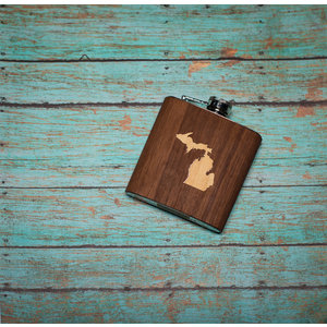 Wooden Flask Michigan