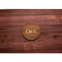 Wooden UP Love Inlay Coaster