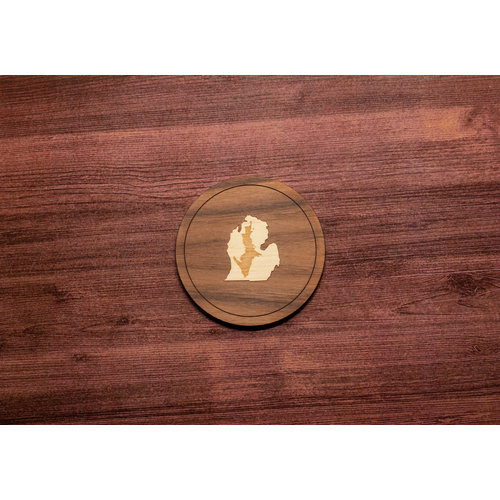 Wooden UP inside LP Inlay Coaster