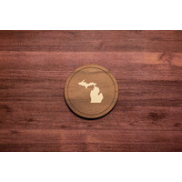 Wooden Michigan Inlay Coaster