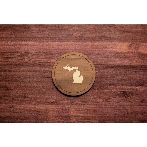 Wooden Michigan Inlay Coaster