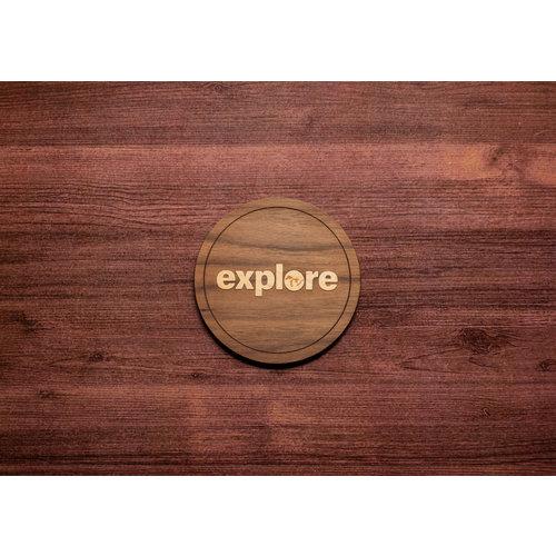 Wooden Explore Inlay Coaster