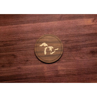 Wooden Great Lakes Inlay Coaster