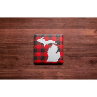 White MI, Red Plaid Coaster