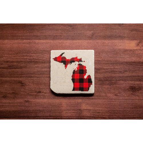 Red MI Plaid Coaster