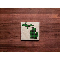 Green MI Plaid Coaster