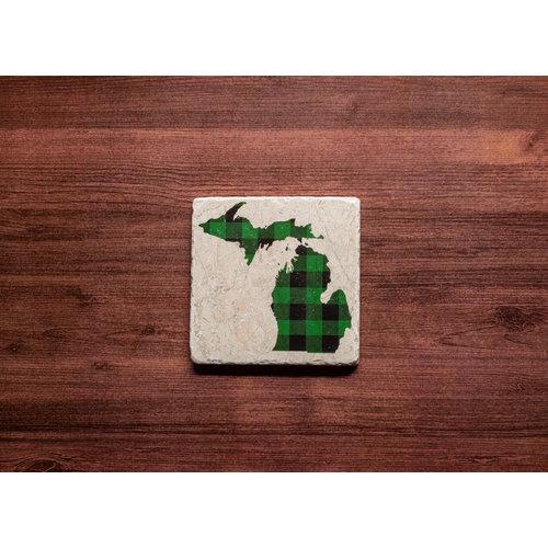 Green MI Plaid Coaster