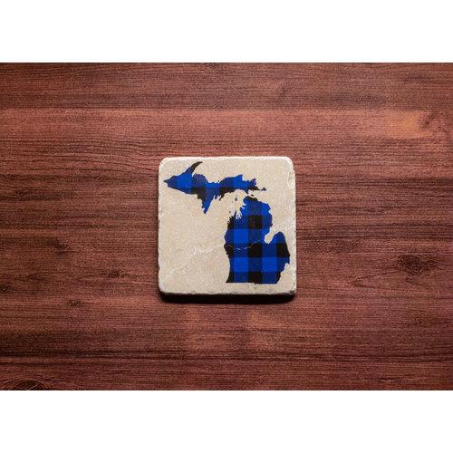 Blue MI Plaid Coaster
