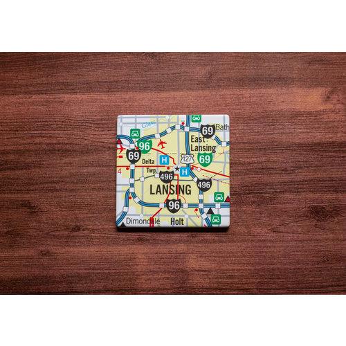 Lansing Map Coaster